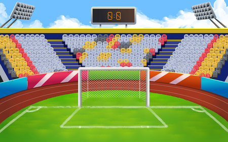 Stadium, football goal vector background Illustration