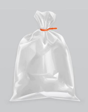 sacks: Transparent polyethylene package, vector mockup