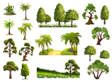 Árboles, naturaleza, bosque, iconos conjunto de vectores Ilustración de vector