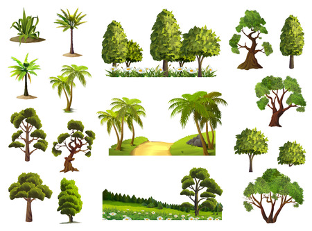 Bomen, natuur, bos, vector iconen set Stock Illustratie