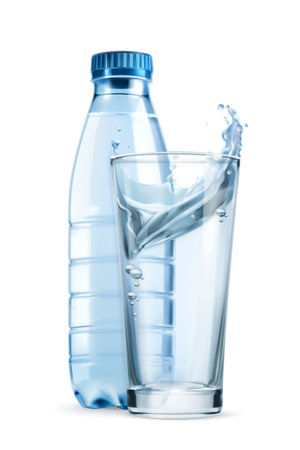 Water bottle and glass, vector icon