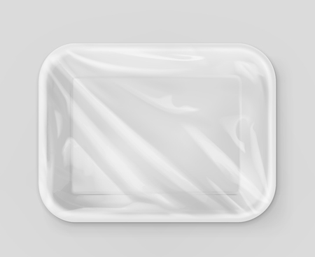 food tray: White polystyrene packaging, vector mockup
