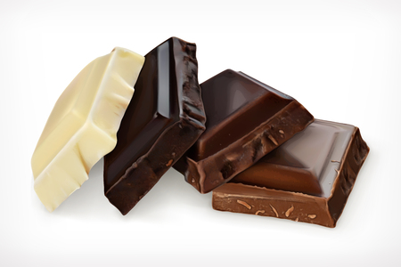 Pieces of chocolate, vector icon