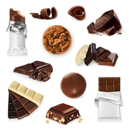El chocolate, el conjunto del icono del vector. Diferentes tipos de productos de cacao: barra de energía, dulces, trozos de chocolate, rebanadas, virutas, galleta. colección delicioso para el postre, Ejemplo de la publicidad para la tienda de dulces