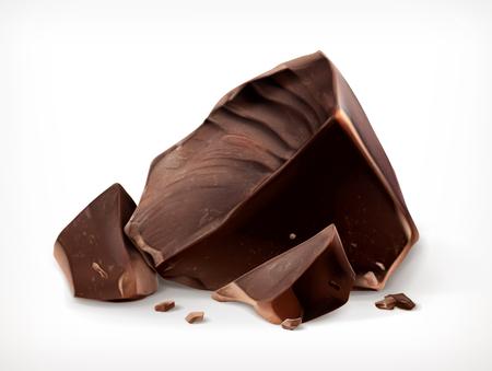 Dark chocolate pieces, vector icon