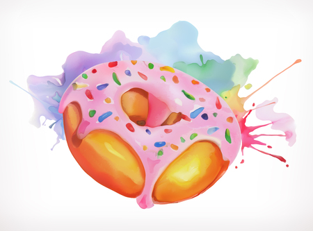 donut: Donut with pink icing vector illustration, watercolor painting, isolated on a white background Illustration