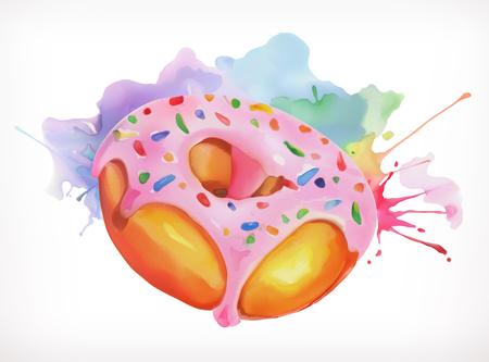 El buñuelo con la formación de hielo ilustración vectorial de color rosa, pintura a la acuarela, aislado en un fondo blanco