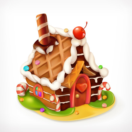 Gingerbread house, sweet food vector icon