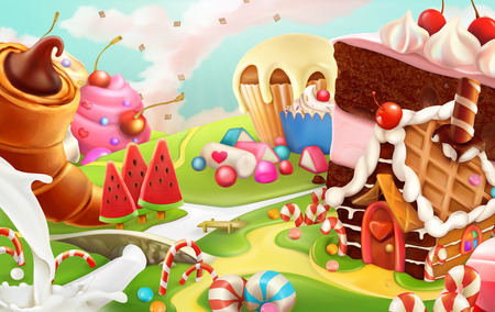 dream land: Sweet landscape, vector background