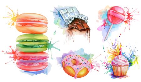 水彩画のお菓子セットは、ベクトル アイコン コレクション キャンディ ロリポップ、マカロン、誕生日ケーキ、チョコレート ・ バー、ピンク釉ドーナツ。甘い歯のためのおいしい食べ物