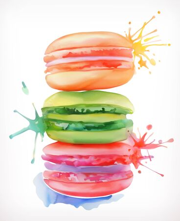 Macarons vector illustration, watercolor painting, isolated on a white background Stock Illustratie