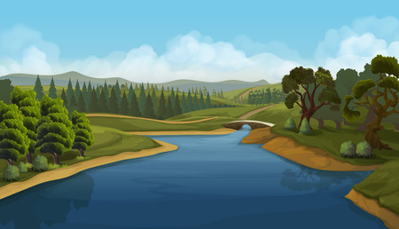 Nature landscape, river, vector background