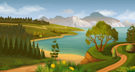the bay: Nature landscape, sea bay, vector background