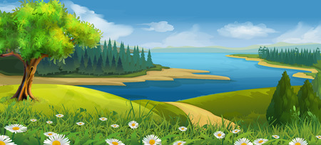 Nature landscape, stream valley, vector background Ilustração