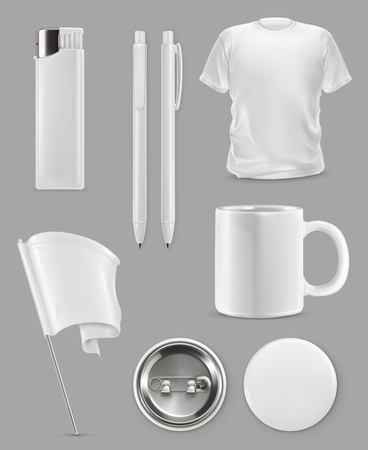 Promotional items, vector set mockup Иллюстрация