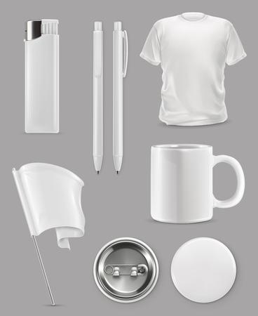 Promotional items, vector set mockup Illustration