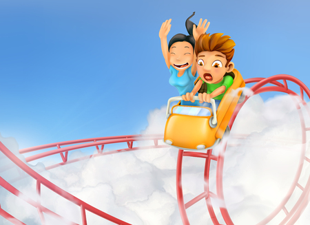 Roller coaster in the clouds, vector background Stock Illustratie