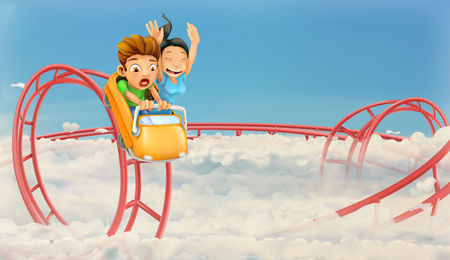 Roller coaster in the clouds, vector background Illustration