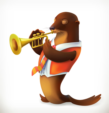 Seal playing trumpet, funny character, vector mesh Illustration