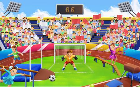 soccer field: Stadium, sports arena vector background