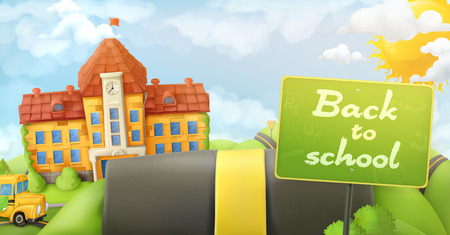 Back to school, road and sign, vector cartoon background