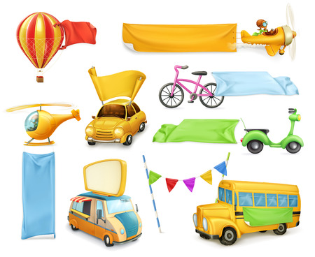 Cartoon transportation, cars and airplanes with banners and flags, set of vector graphic elements