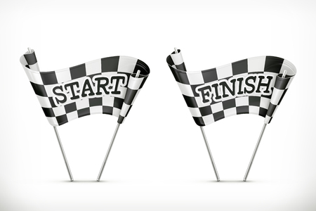 Checkered flag, start and finish vector icon