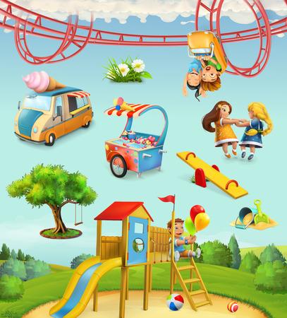 儿童游乐场,户外游戏在公园,人物和对象套矢量图标