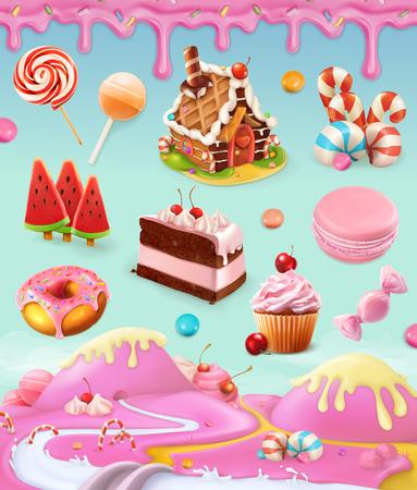 Słodycze i desery, ciasto, ciastko, cukierek, lizak, bita śmietana, oblodzeniowy, zestaw obiektów wektorowych z słodkim różowym tłem, ilustracja oczek