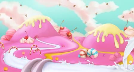 golosinas: paisaje dulce de color rosa, fondo del vector