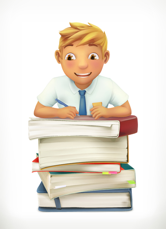 teenagers learning: Pupil and school textbooks. Little boy cartoon character. Vector icon Illustration
