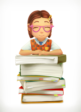 pupil: Pupil and school textbooks. Little girl cartoon character. Vector icon