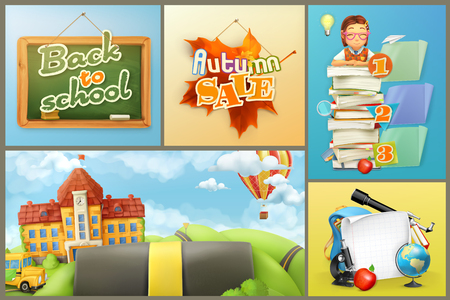 graphic backgrounds: School, education and schoolchildren, set of vector backgrounds and graphic elements. Back to school. Autumn sale Illustration