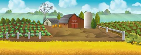 Bauernhof. Panorama Landschaft, Vektor-Hintergrund