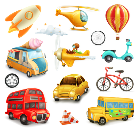 cartoon: Funny cartoon transportation, cars and airplanes set of vector icons