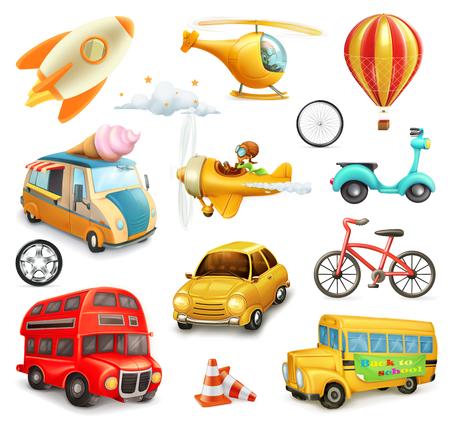 Grappig cartoon vervoer, auto's en vliegtuigen set van vector iconen