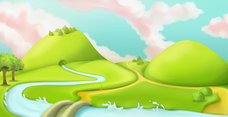 Nature landscape, cartoon game background, vector graphic mesh Illustration