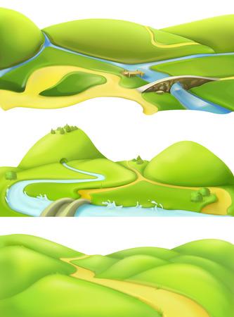 Nature landscape, cartoon game backgrounds, vector set