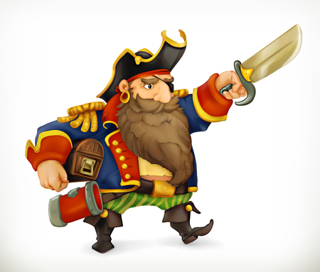 piracy: Pirate, funny character, vector icon mesh