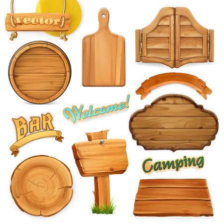 Wooden sign set. Template for logo, emblem. 3d vector