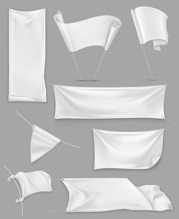 Bannières blanches et drapeaux, illustration maille, maquette de vecteur