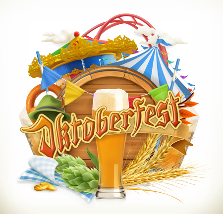 Munich Beer Festival Oktoberfest, the vector can also be used by any beer manufacturers. Amusement park, tent