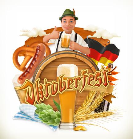Munich Beer Festival Oktoberfest, the vector can also be used by any beer manufacturers. Barrel, pretzel, beverage, hop, malt. Illustration