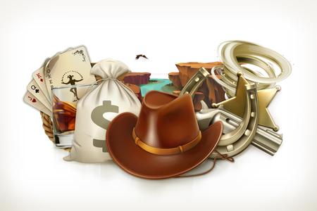 cappelli: Cowboy avventura. logo del gioco. stile retrò occidentale. 3d vettore emblema