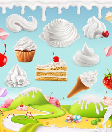 ホイップ クリーム、牛乳、クリーム、アイスクリーム、ケーキ、ケーキ、お菓子、メッシュ図 写真素材 - 65837493