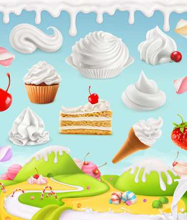 candies: Whipped cream, milk, cream, ice cream, cake, cupcake, candy, mesh illustration