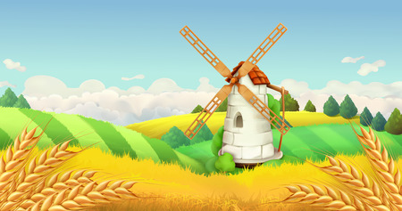 agricultural: Wheat field. Windmill landscape. Horizontal background, vector Illustration