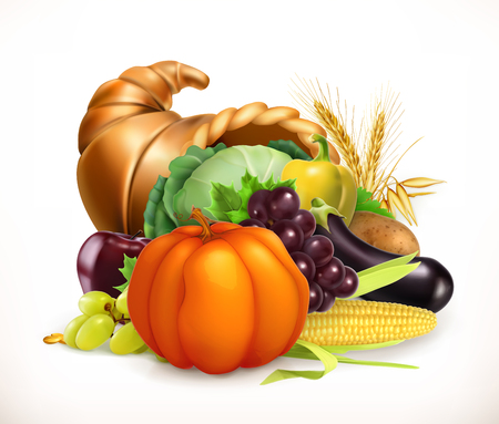 Horn of plenty. Harvest fruits and vegetables. Cornucopia. 3d vector icon Vectores