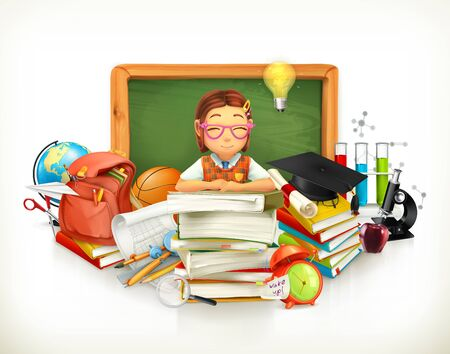 Back to school. Education. 3d vector illustration Illustration