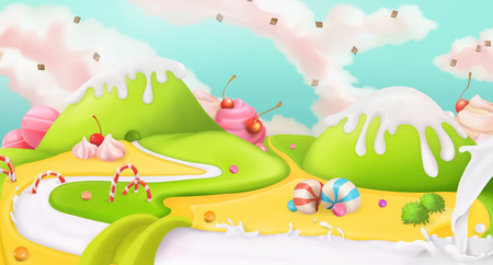 candies: Sweet landscape, vector background